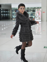 Real natural genuine full pelt rabbit fur coat with big fox fur collar women fashion whole skin jacket