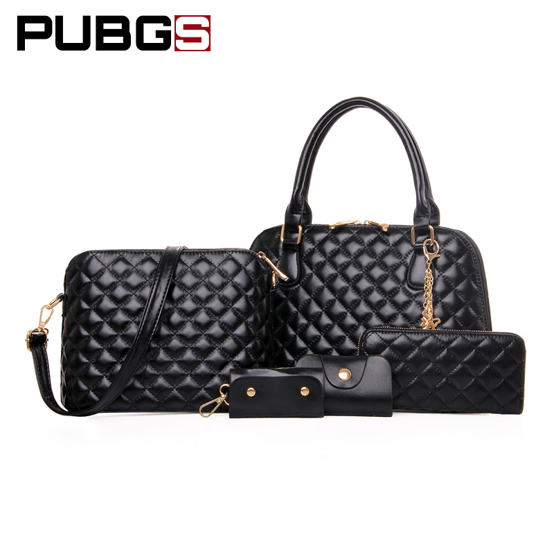 Womens Handbags Female Bags High Quality Luster Leather PU Texture Superb Variety Fashion Delicate 5-Piece Set PUBGS 2018 New