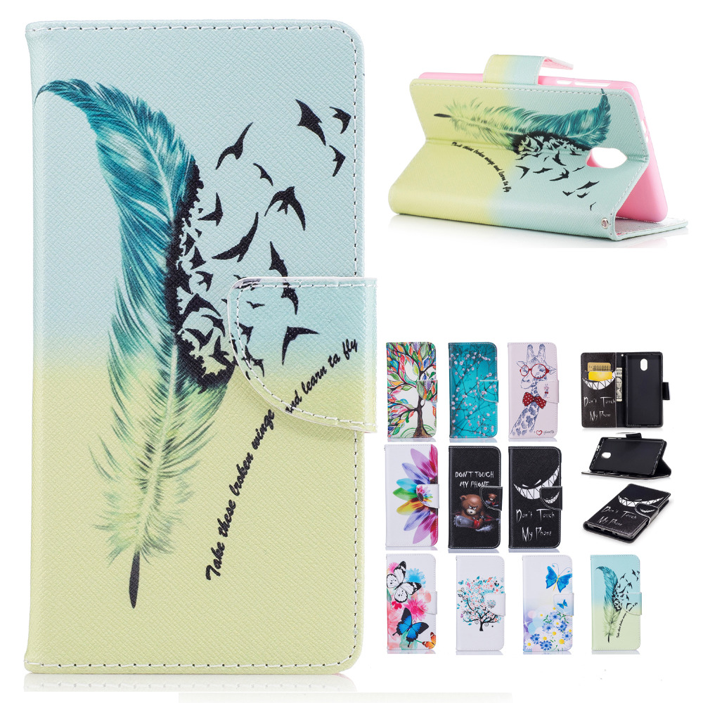 For Nokia 3 flip case painted wallet leather cover For Nokia 3 TA-1020 Nokia 3 Dual SIM TA-1032 mobile phone Case Coque Funda