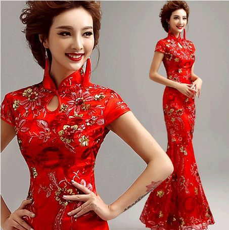 Chinese traditional dress 2015 summer style long qipao red lace Mermaid bride wedding cheongsam vestido de noiva wholesale
