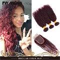 Красный Бордовый Бразильский Волос Weave 3 Связки Бразильский Kinky Вьющиеся девственные Волосы 99J Вьющиеся Переплетения Человеческих Волос С 4x4 Кружева закрытие