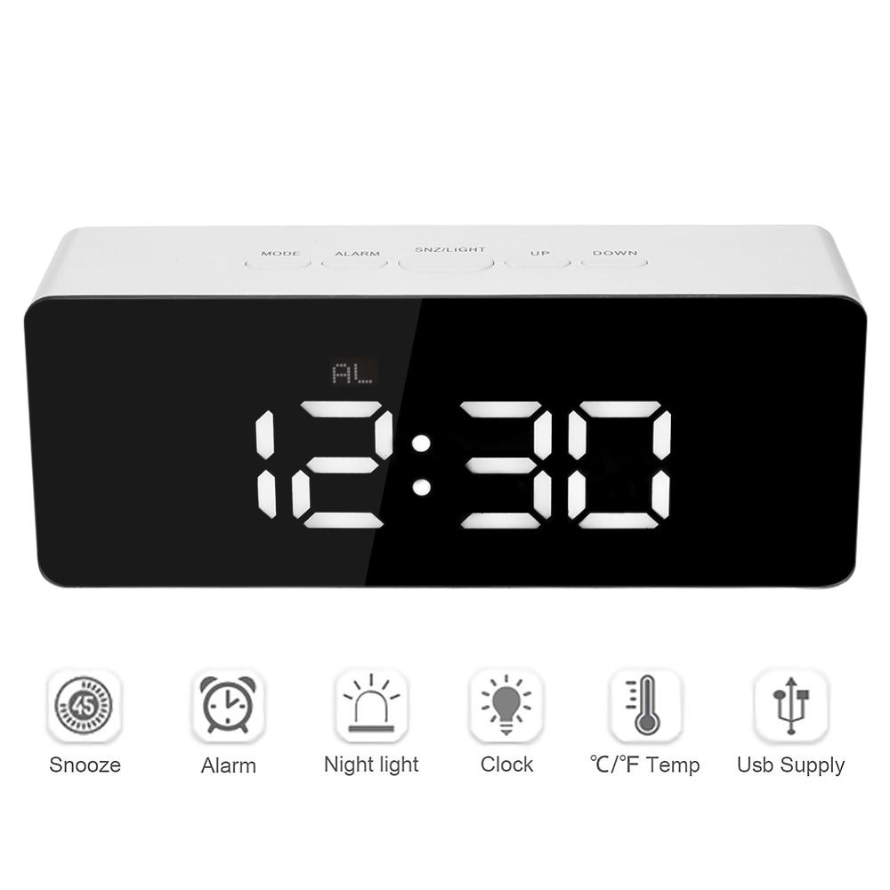 Reloj despertador Digital 12 H/24 H función despertador y despertador C/F termómetro de interior reloj de espejo LED reloj de mesa Digital Reloj de escritorio