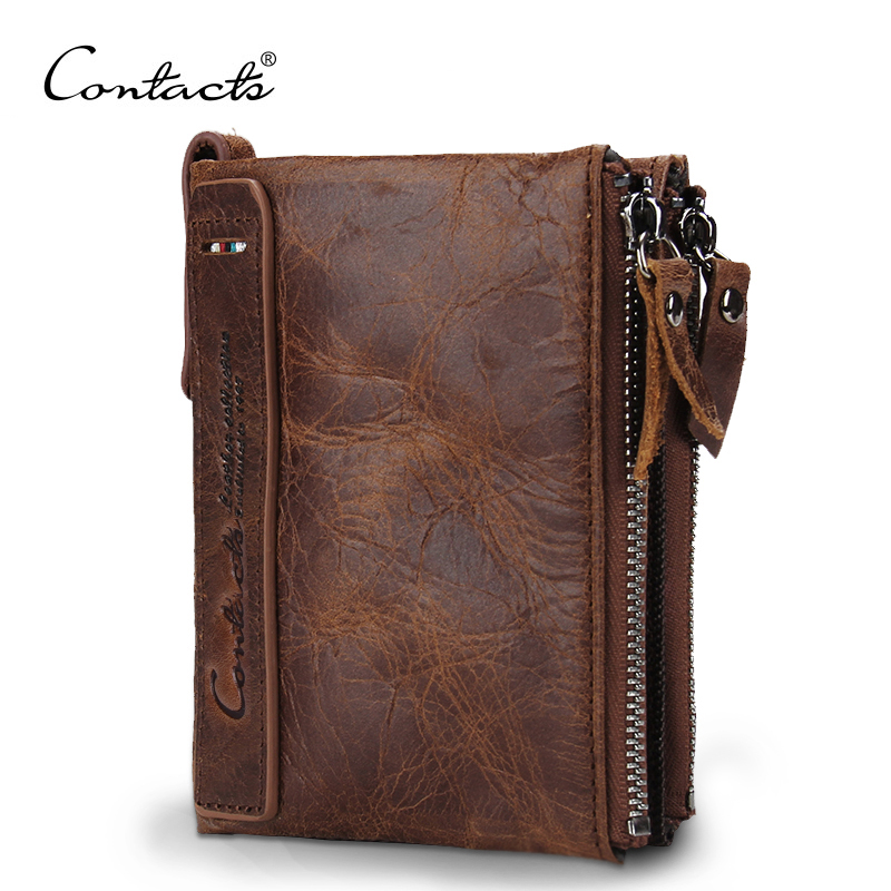CONTACT'S HOT Genuine Crazy Horse Cowhide Leather Men Wallet Short Coin Purse Small Vintage Wallets Brand High Quality Designer-in Wallets from Luggage & Bags