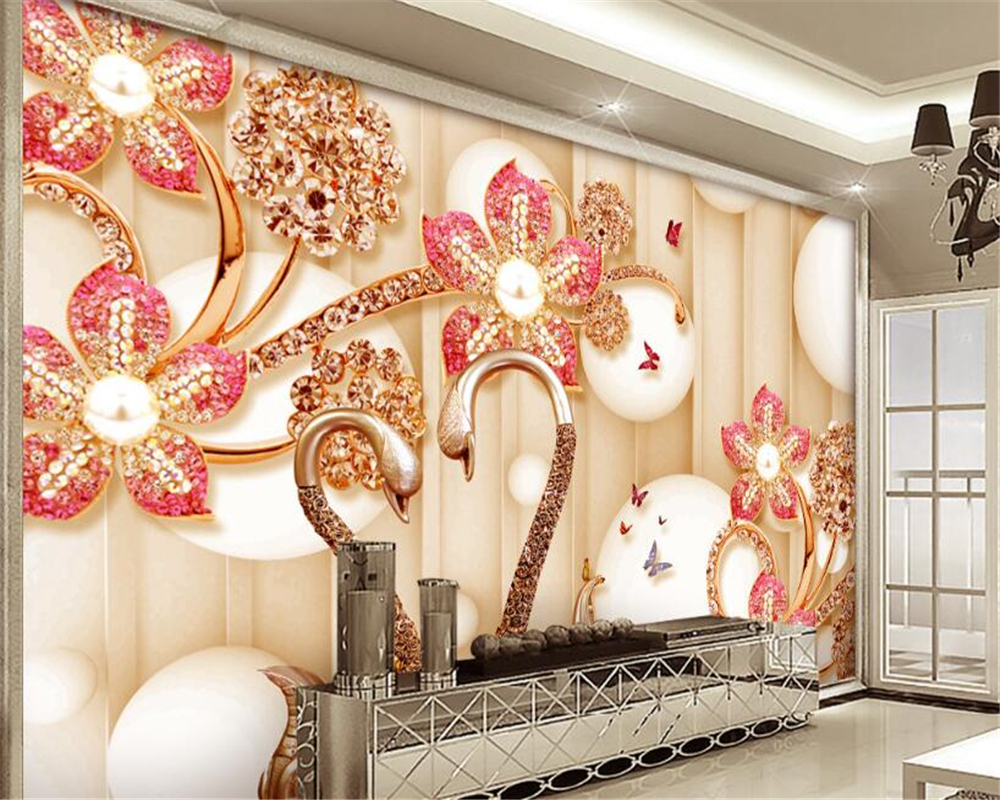 Beibehang Clássico Swan Jóias Diamante 3d Estéreo Papel De Parede papel de parede Quarto Flor papel de parede do Fundo Da Parede Pintura Decorativa