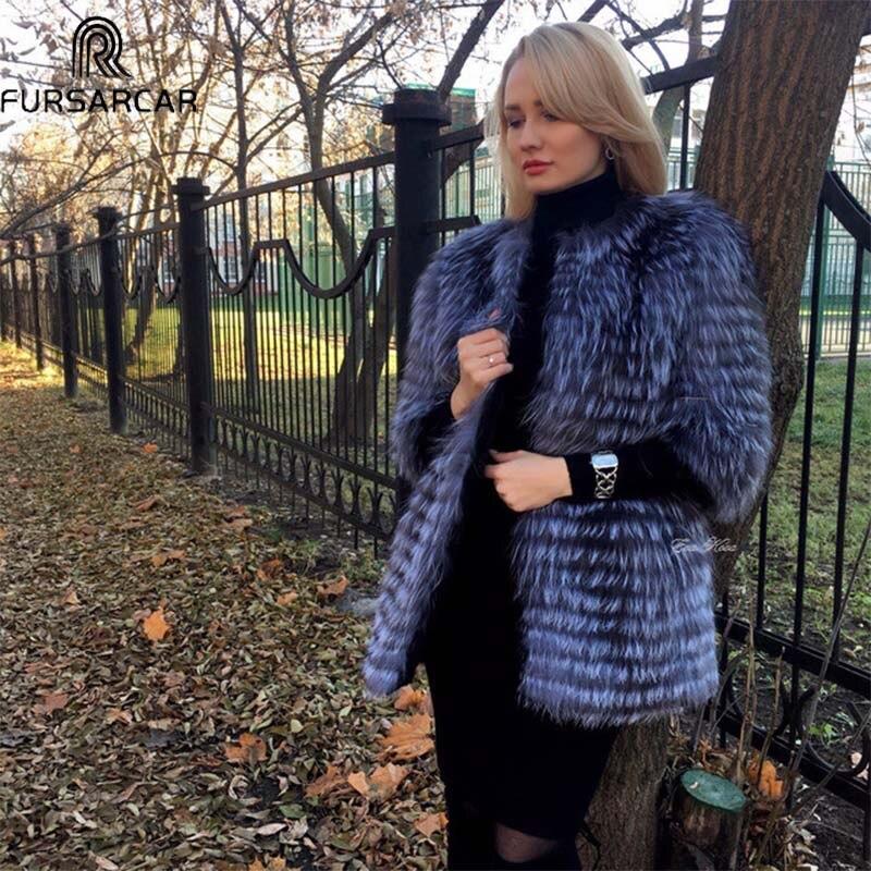 FURSARCAR Winter Real Silver Fox Fur Women Natural Genuine Silver Fox Fur Coat 80cm Long Round Neck Fur jacket C6