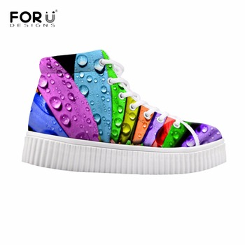 FORUDESIGNS Colorful 3D Leaf Printed Women High Top Flats Shoes Fashion Women's Winter Ankle Boots Flat Shoes Women Girls Shoes