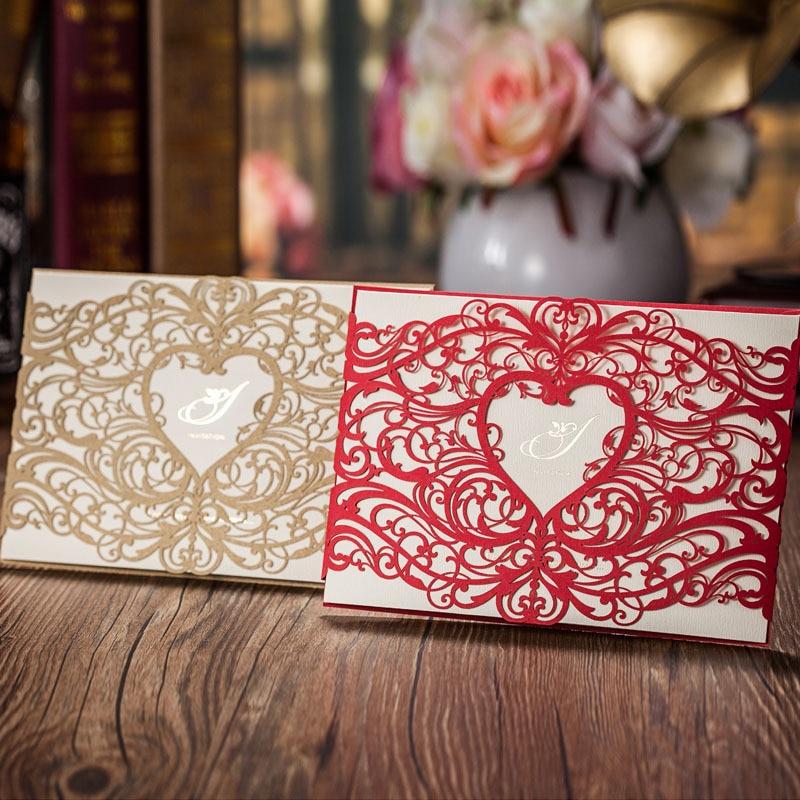 Stil romantic inima Laser Cut Invitatii de nunta Carti de aur rosu cu - Produse pentru sărbători și petreceri