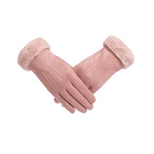 Womens Gloves Winter Thicken Warm Fashion Non-slip Wearable Pink Deerskin Touchscreen Outdoor Protective Work