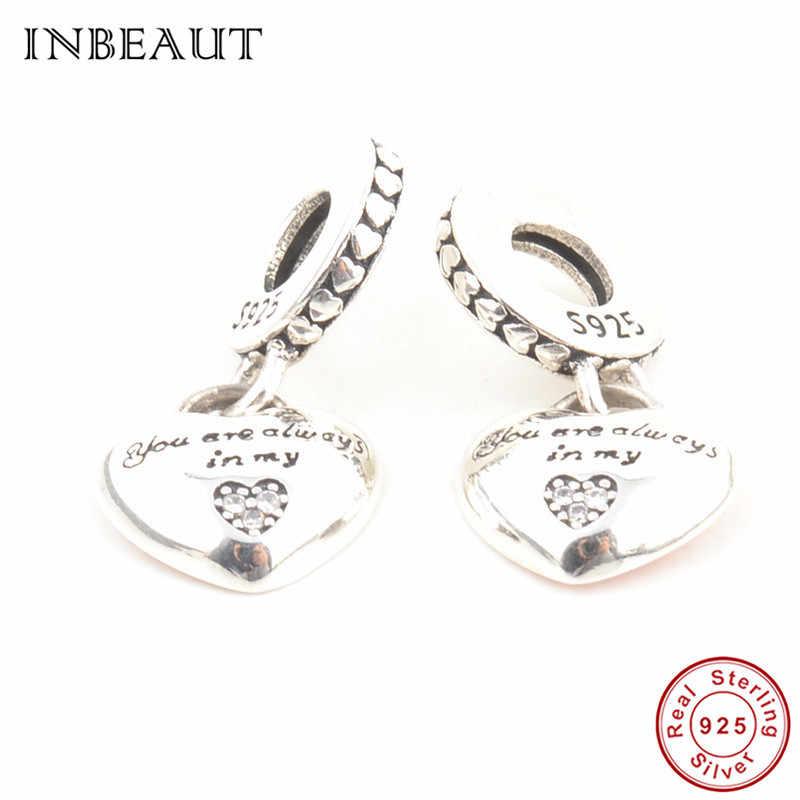 Двойной браслет Pandora с концентрическим сердцем для мамы и дочки, 925 пробы серебряный браслет с надписью «You Always in My Heart family»