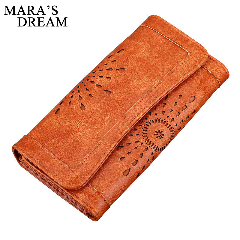 Mara's Dream 2017 New Fashion Women Wallets Hollow Out PU Leather Long Purse Women Lady Clutch Money Bag Credit Card Holder Bag рюкзак all out luton 129218 blue dream check