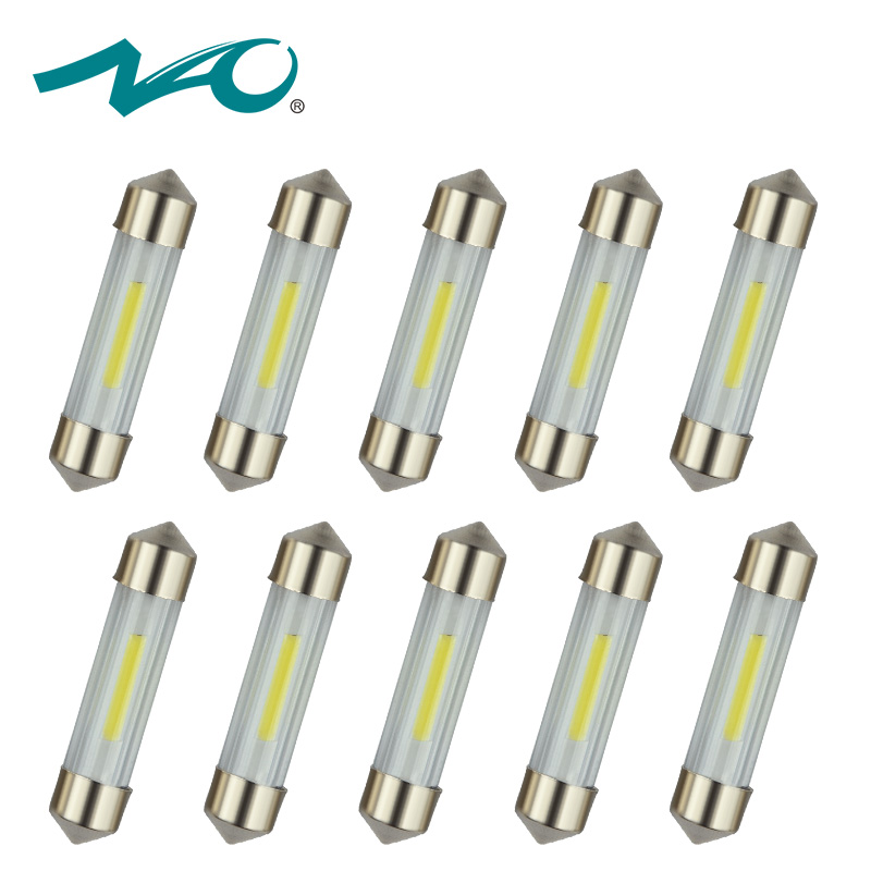 NAO 10x C5W led Festoon 31mm 36mm 39mm 41mm C10W Bulb SMD COB Car interior lighting LED Lights 12V 6000K White Lamp for Auto nao 2x c5w led c10w bulb car interior light festoon 31mm 36mm 39mm 41mm smd 3030 cob reading dome lamp 12v 24v 6000k white
