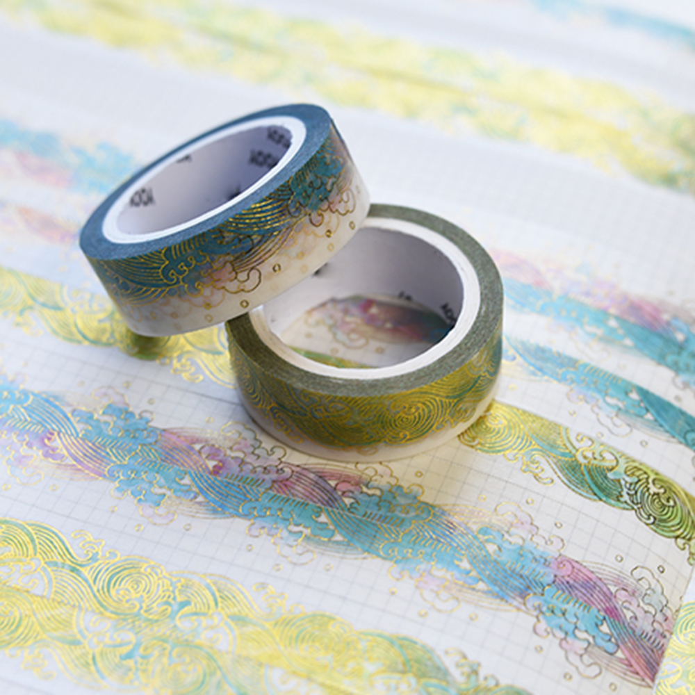 1.5cm*10m Fashion Starry Sea Bronzing Washi Tape DIY Sticker Diary Sticker Office School Scrapbooking Stamping Stickers
