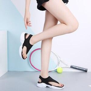 Image 4 - Женские сандалии на плоской подошве STQ, 2020 черный цвет, шлепанцы, танкетка, удобные, домашние, тапочки, на лето, 7753