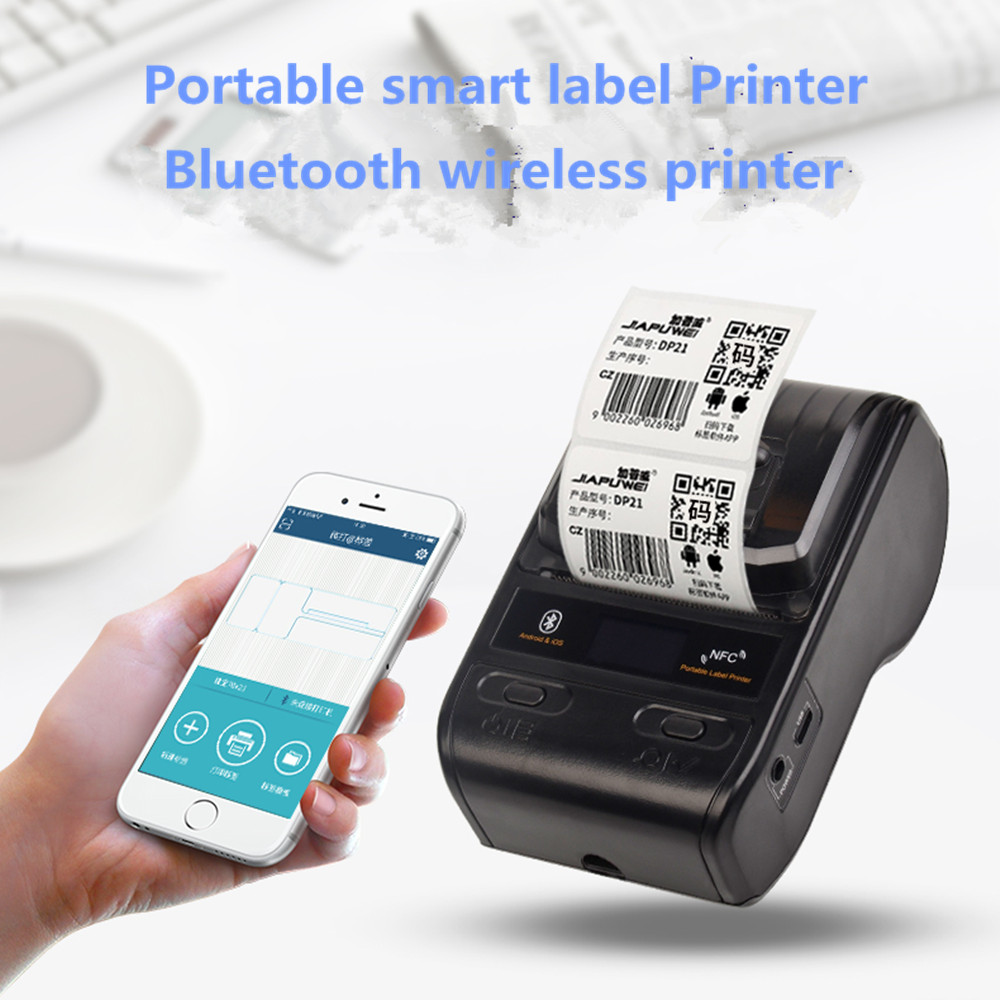 Portable 58mm Thermal Bluetooth Label Printer Barcod printer receipt printer with android ios have app