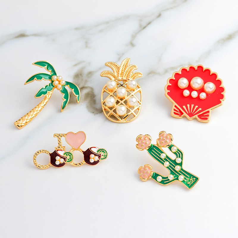 Cactus Palm tree Pineapple Mussel Imitation pearl Decoration Pin Brooches Badges Brooch Pineapple pin Cactus pin Fashion jewelry