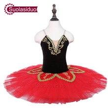 Girls Red Ballet Tutu The Black Swan Performance Stage Wear Children Ballet Dance Competition Costumes Women Ballet Skirt