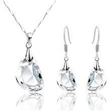Attractive Women's Novelty Pea Shaped White Necklace Earrings Crystal Jewelry Set 75C4