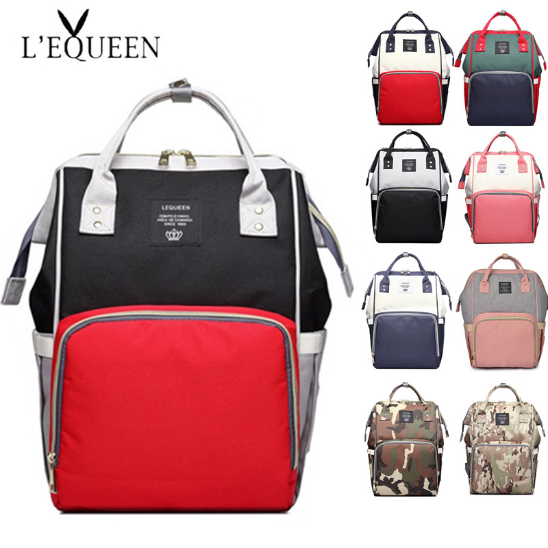 Lequeen Diaper Bag Mom Daddy Large Capacity Travel Backpack Mummy Maternity Wet Bag Waterproof Baby Stroller Bag For Baby Care