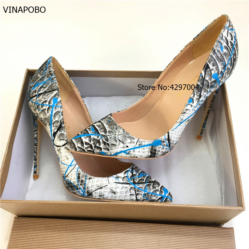 Vinapobo <font><b>Top</b></font> <font><b>Quality</b></font> python Snake Printing <font><b>Women</b></font> <font><b>High</b></font> <font><b>Heels</b></font> <font><b>2018</b></font> NEW Fashion Party Wedding Blue <font><b>Sexy</b></font> <font><b>Women</b></font> patry <font><b>Shoes</b></font> Size 43 image