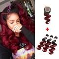 Burgundy Brazilian Body Wave 3 Pcs with Closure 99j Ombre Brazilian Hair Weave Bundles Lace Closure Colored Red Hair Bundles