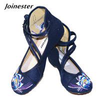 Chinese New Year Spring Double Strap Buttons Round Toe Canvas Wedges Shoe Floral Embroidered Casual Dancing