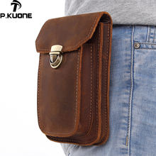 P.Kuone Men's Pockets Genuine Leather Belt Waist Bag With Shoulder Strap Layer Leather Multi-function Leather purse Small Bag