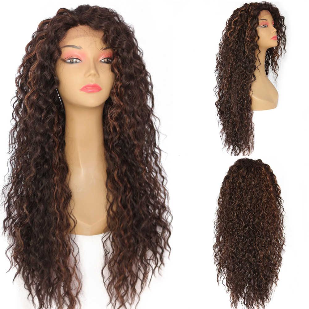 Lvcheryl ручной завязанный кудрявый Тип мягкий Омбре коричневый изюминка термостойкие синтетические кружева передние парики для женщин