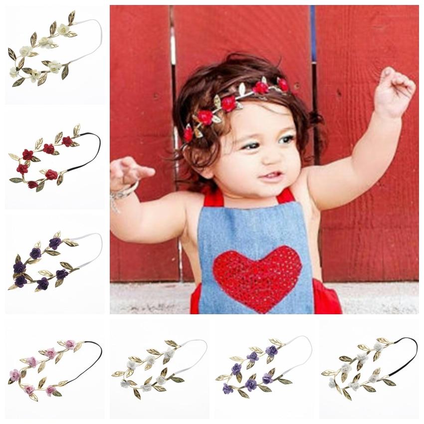 Yundfly 8PCS Newborn Rose Flower Headband Gold Leaves Elastic Children Hair Band Outdoor Party Headwear Kids Hair Accessories