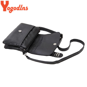 Image 5 - Yogodlns נשים שחור עור שליח שקיות אופנה שליח בציר מגניב גולגולת מסמרות כתף שקיות sac ראשי bolsa