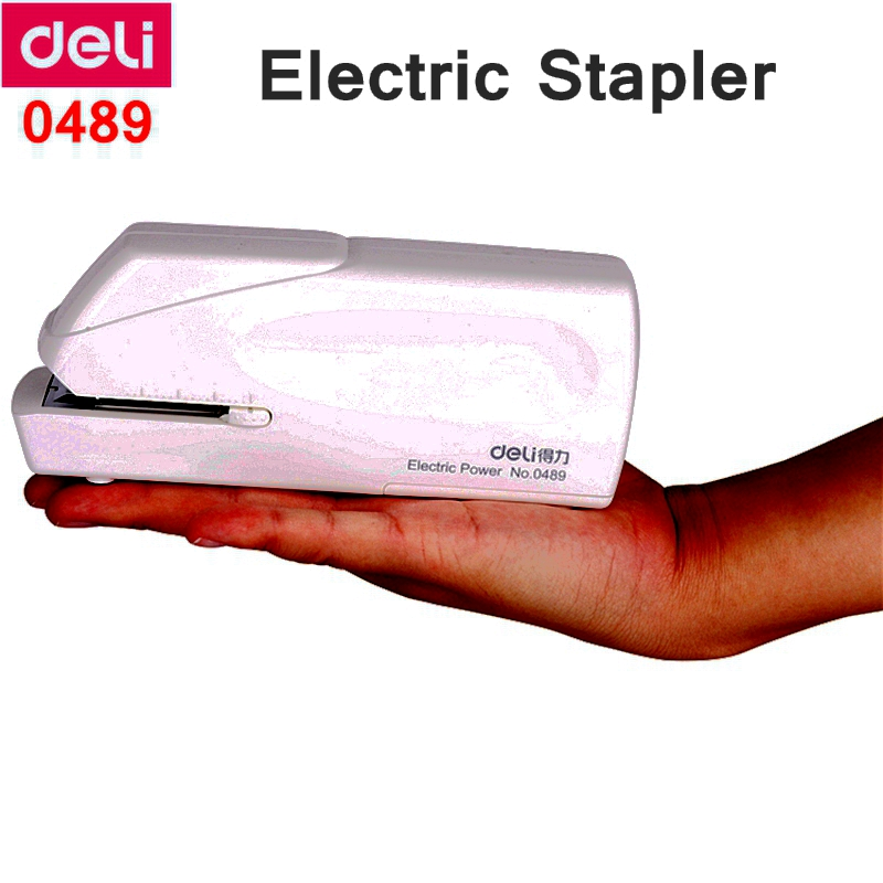 Deli 0489 Electric Stapler Office Student Finance Stapler Use 24/6-26/6 Staples Battery And 110-240VAC Dual Power Suppply