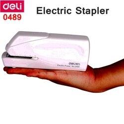 Deli 0489 agrafeuse électrique bureau étudiant Finance agrafeuse utiliser 24/6-26/6 agrafes batterie et 110-240VAC double alimentation