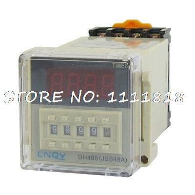 AC 220V DPDT 8P 0.01S-9999H Timer Delay DIN Rail Time Relay DH48S-2Z w Socket