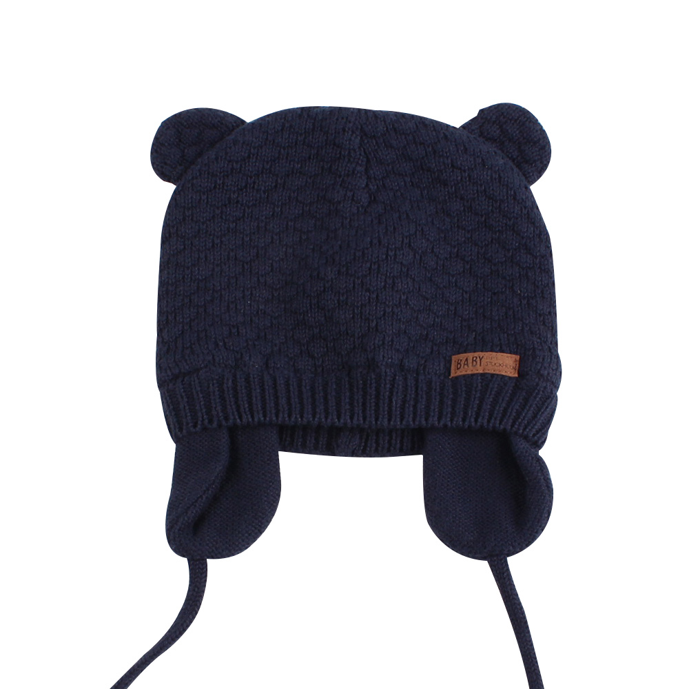 Bear Ears Cute Baby Hat Soft Cotton Newborn Baby Beanie Double Layer Warm Winter Hat For Baby Girls Boys Knitted Kids Hats New (12)