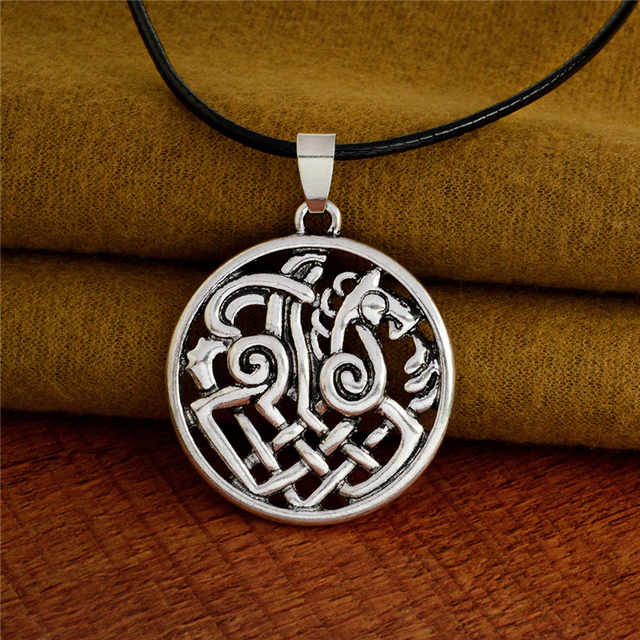 Hollow Nordic Odin Sleipnir Kolovrat Pendant Necklaces Viking chain Vintage Antique silver bronze Men Jewelry Gift for Friend 4