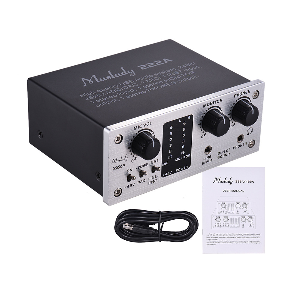 222A 2 Channel USB Audio System Interface External Sound Card 48V phantom power DC 5V Power