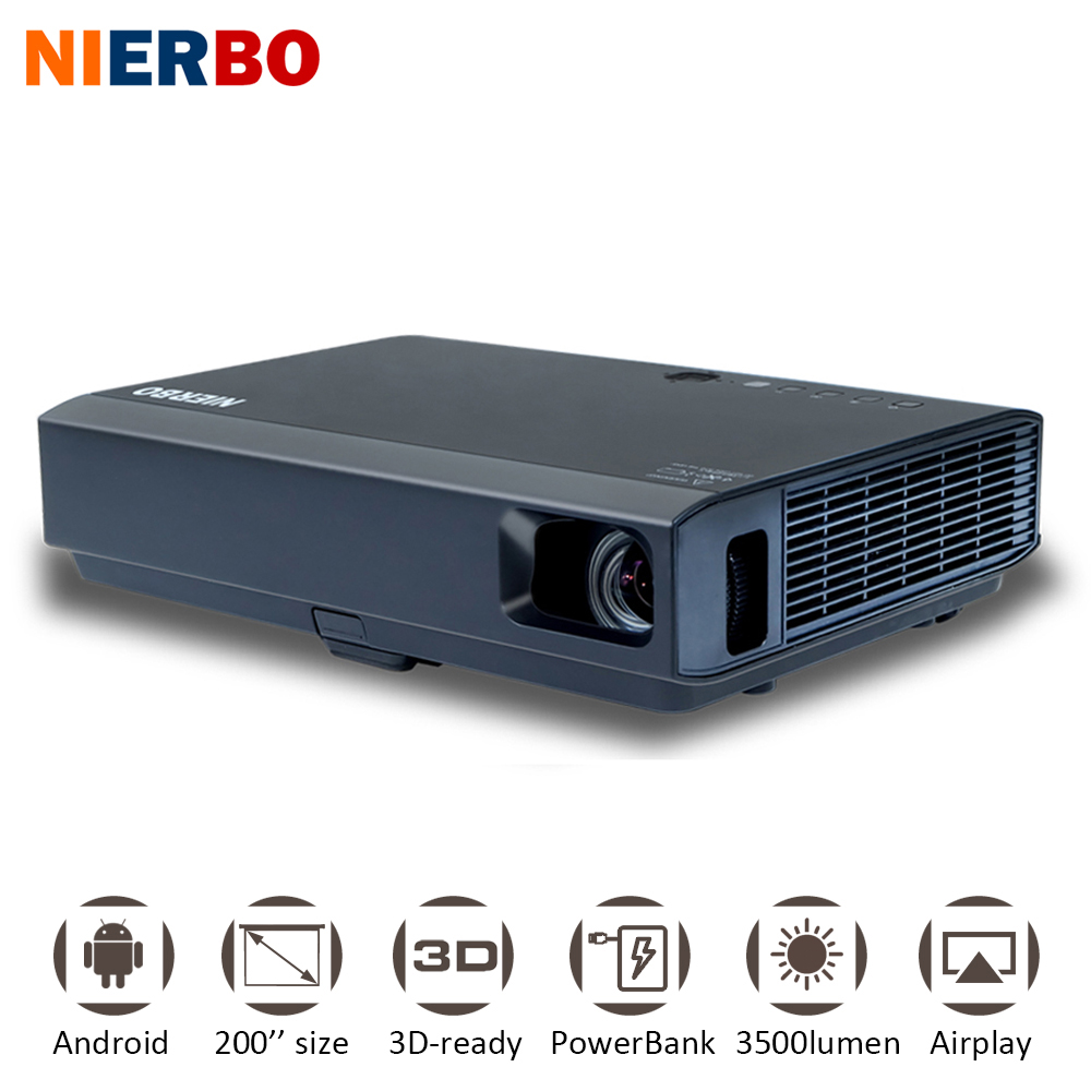 NIERBO 3500 Lumens Android Projector IMAX 3D 1080P Wireless Portable Projector LED Battery Outside Home Cinema