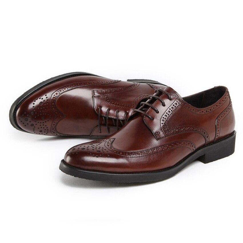 Los Negro Auténtico marrón Pie Brogue Hecho Vintage Zapatos Partido Hombre vino Formal Derby Nuevo Dedo Redonda Hombres Del Tallada A Cuero Tinto Vestido Mano Ymx429 De Oxfords gXqxES