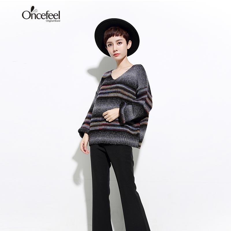 Otoño invierno rayado del color de punto suéter flojo de la camisa de las mujere