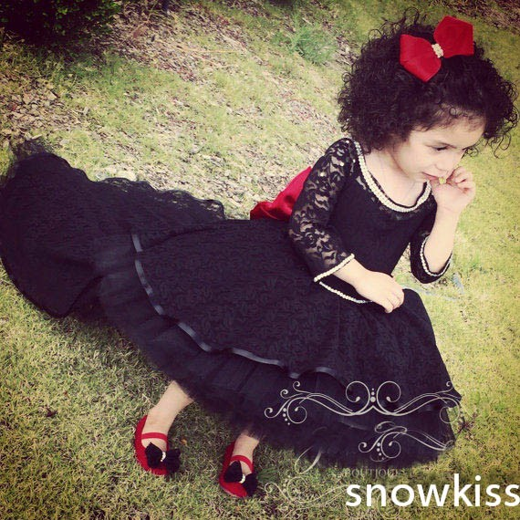 Black lace kids pageant ball gown crystals prom evening party dress baby girl first birthday outfit with long train and sleeves цены