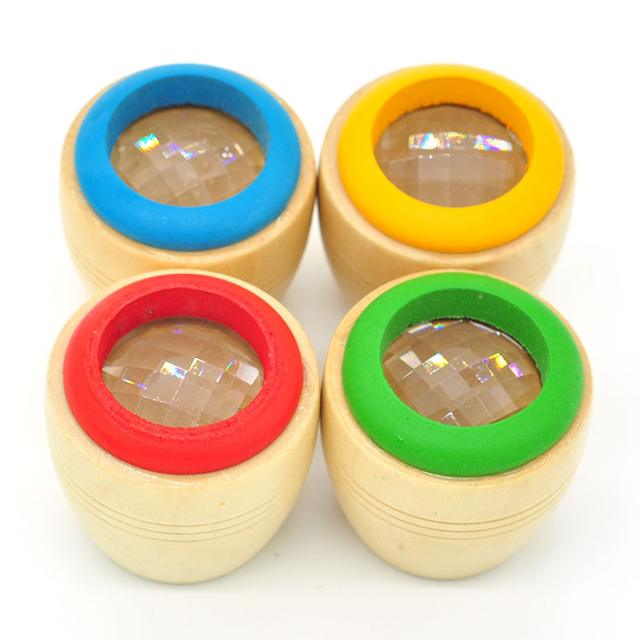 Wooden Educational Magic Kaleidoscope Baby Kid Children Learning Puzzle Toy
