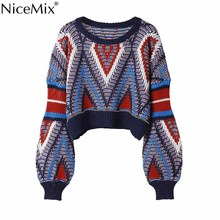 hot deal buy nicemix 2019 springsweater women vintage pullover sexy short crop tops knitted argyle jumper loose female sweaters femme