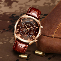 MEGALITH Classic Design Men'S Watches Brown Leather Business Sport Stainless Timer Gift For Male Waterproof Sport Relogio