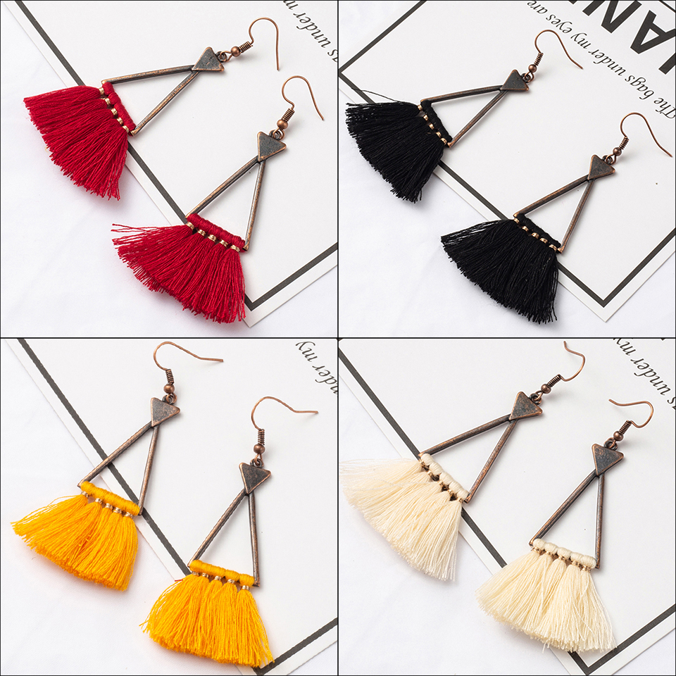 2019 New Fashion Colorful Triangle Vintage Ethnic Long Pendant Fringed Tassel Earrings For Women And Girls Accessories Jewelries