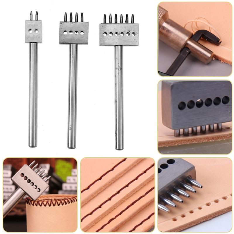3 PCS En Cuir Poinçon Outil 5mm 2/4/6 Prong Leather Craft Outils DIY Rangée Circulaire Cut trou Piqué Espacement Des Trous D'outils À Main