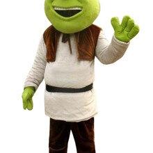 Костюм Шрека для аниматора одежда с героями мультфильмов Хэллоуин костюм для вечеринки взрослый размер с зеленой жирной головой смеющееся лицо