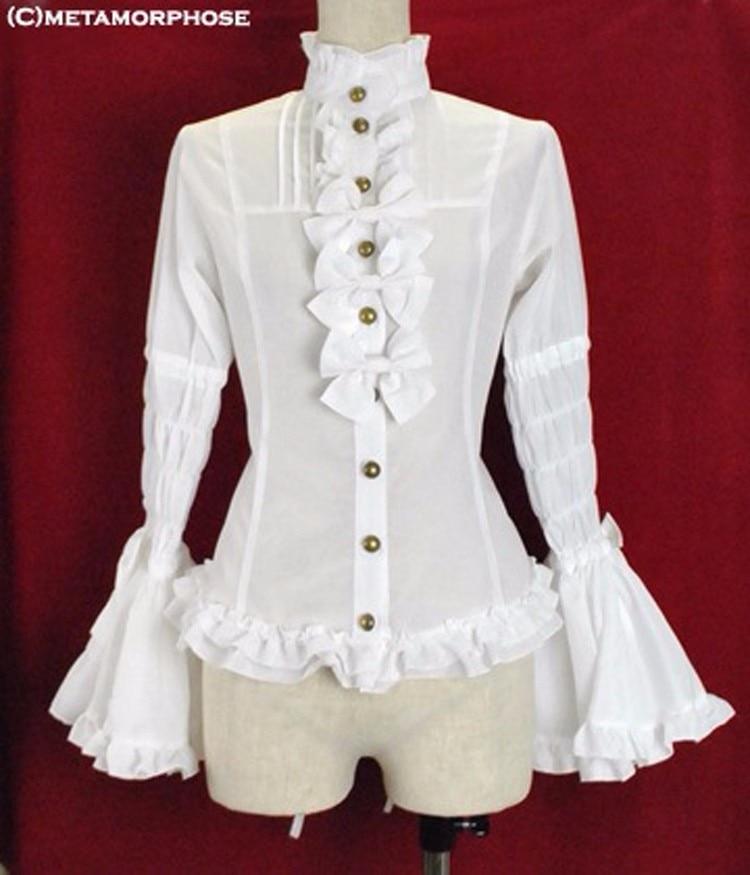 Wonder women costume ladies office shirt long sleeve victorian white gothic lolita blouse lolita cosplay costume female shirts