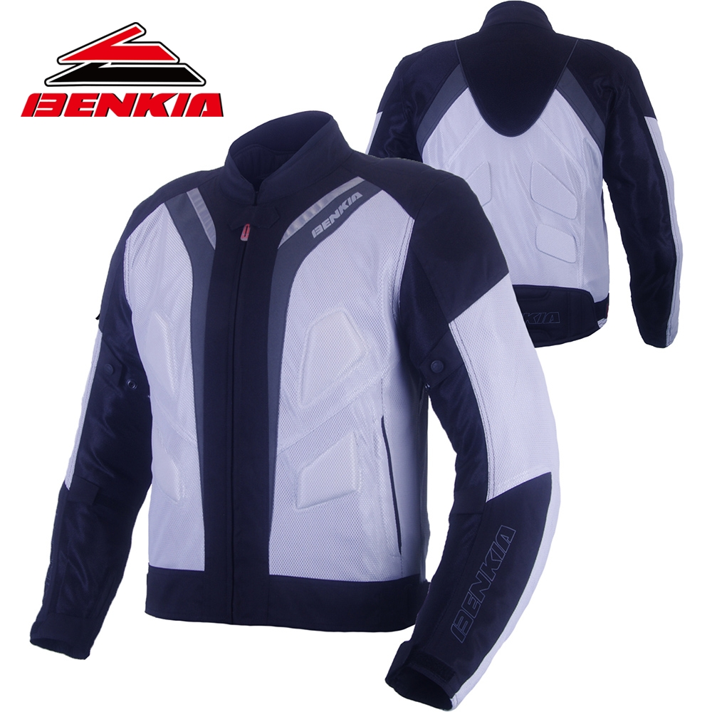 BENKIA Motorcycle Racing Jacket Motorbike Protective Jackets Breathable Riding Clothing Reflective Blouson Moto Protection JS39 benkia men motorcycle racing denim pants moto jeans motorbike racing pants pantalon moto motocross clothing