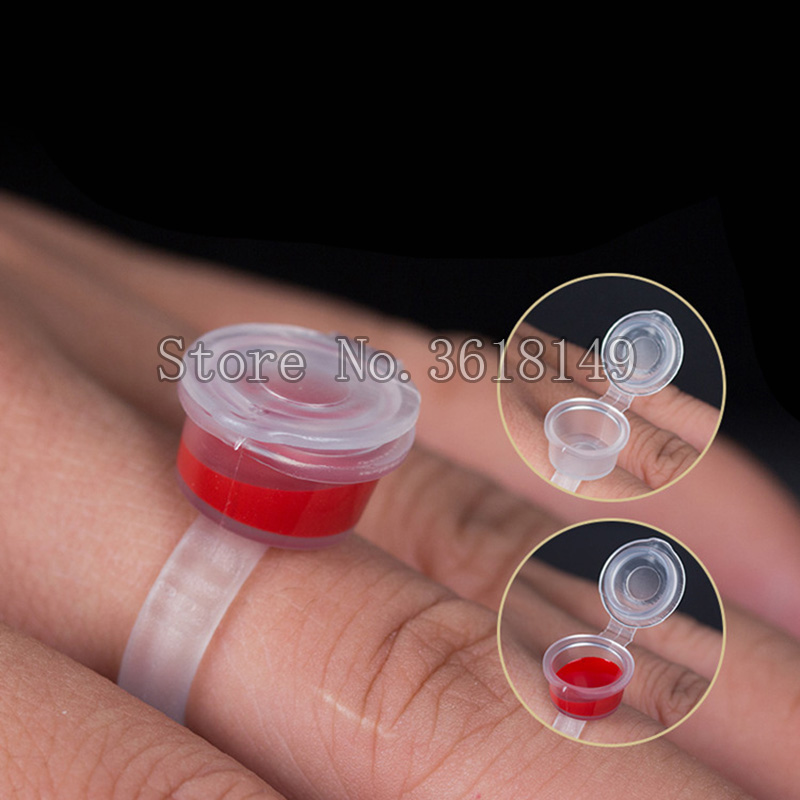 50Pcs Microblading Pigment Glue Rings Tattoo Ink Holder For Semi Permanent Makeup Transparent Pigment Cap Tattoo Tool Holder in Tattoo accesories from Beauty Health