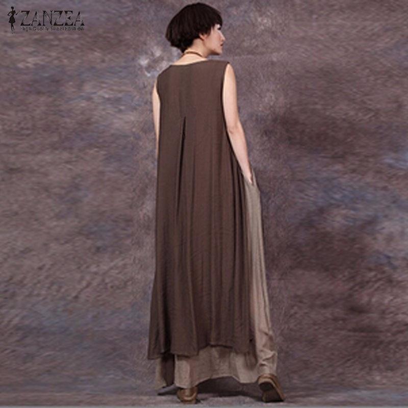Негабаритных 2017 лето zanzea женщины старинные случайные свободные рукавов платье сексуальные дамы o шеи сращивания длинные макси платья плюс размер