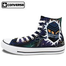 Converse All Star Men Women Hand Painted Design Police Box Galaxy Space Shoes Unisex High Top Canvas Sneakers for Gifts